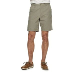 Flat Front Washable Linen Blend Shorts Sage